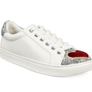 Betsey Johnson hearts/glitter white sneakers